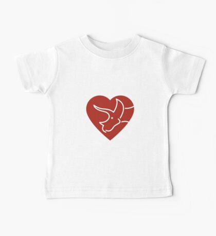 Dinosaur heart: Triceratops (Red on white) Baby Tee