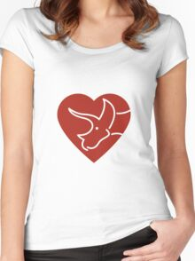 Dinosaur heart: Triceratops (Red on white) Women's Fitted Scoop T-Shirt