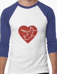 Dinosaur heart: Triceratops (Red on white) Men's Baseball ¾ T-Shirt