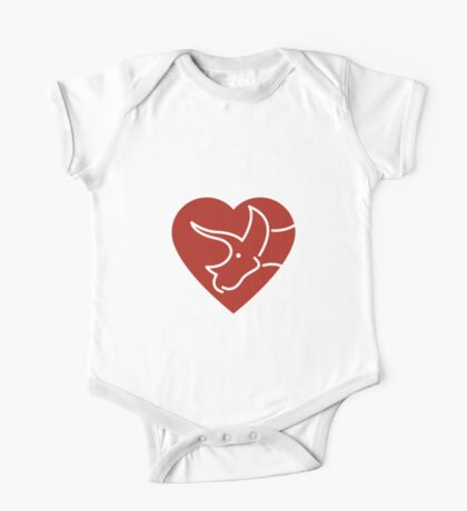 Dinosaur heart: Triceratops (Red on white) One Piece - Short Sleeve
