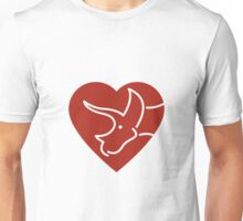 Dinosaur heart: Triceratops (Red on white) Unisex T-Shirt