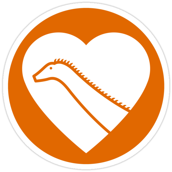 Dinosaur heart: Diplodocus sticker by David Orr