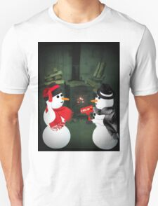 U MELT MY HEART FUN SNOWMAN VARIOUS APPAREL-- PICTURE,CARD,PILLOW AND OR TOTE BAG Unisex T-Shirt