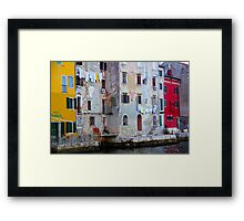 The Essence of Croatia - Pastel Houses of Rovinj Framed Print