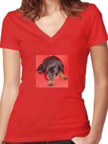Young Rottweiler Puppy On A Red Background Women's Fitted V-Neck T-Shirt