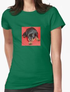 Young Rottweiler Puppy On A Red Background T-Shirt