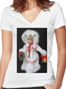 ☆ ★GETTING READY FOR CHRISTMAS IN THE VALLEY VARIOUS APPAREL ☆ ★ Women's Fitted V-Neck T-Shirt