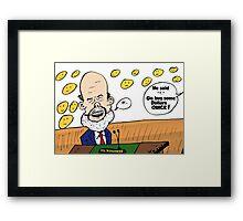 Ben Bernanke editorial cartoon Framed Print