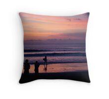 Sunset on Kuta Beach Throw Pillow