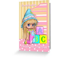 Granddaughter 1st Birthday Card With Cute Little Girl And Blocks Greeting Card