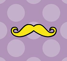 Moustache, Polka Dots - Black Purple Yellow by sitnica