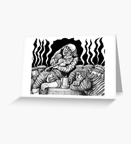Violinist in Tavern black and white ink pen drawing Greeting Card