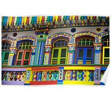Colorful Building in Little India Poster