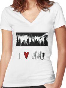 I Heart New New York Women's Fitted V-Neck T-Shirt