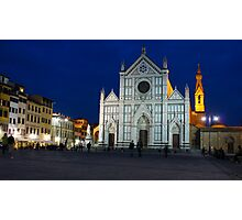 Blue Hour - Santa Croce Church, Florence, Italy Photographic Print