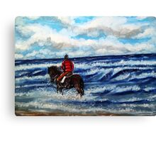 Pony in the surf Canvas Print