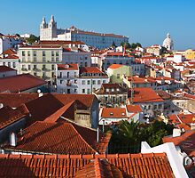 Alfama District in Lisbon with Monastery of Sao Vicente de Fora by kirilart