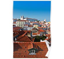 Alfama District in Lisbon with Monastery of Sao Vicente de Fora Poster