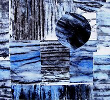 "Blue Beam Collage - Woodcut Print by Belinda ""BillyLee"" NYE (Printmaker)"