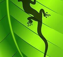 Lizard Gecko Shape on Green Leaf by BluedarkArt