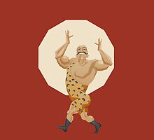 Smiling stron man goes on parade alle in leopard leotard by Ryna Synentchenko
