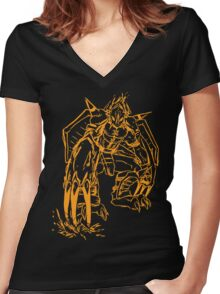 Wild Wargreymon - Color Ink Women's Fitted V-Neck T-Shirt