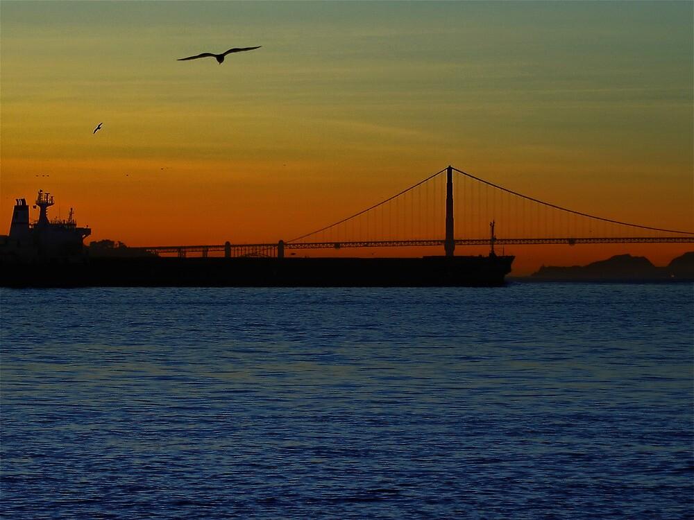 Tanker Leaving Port by David Denny