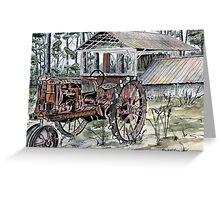 farm tractor vintage art print Greeting Card