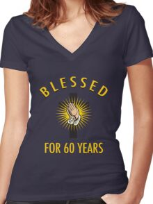 Religious 60th Birthday Gift Women's Fitted V-Neck T-Shirt