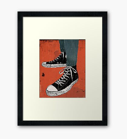 Hi-top shoes print poster art painting punk Framed Print