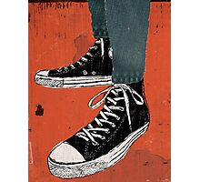 Hi-top shoes print poster art painting punk Photographic Print