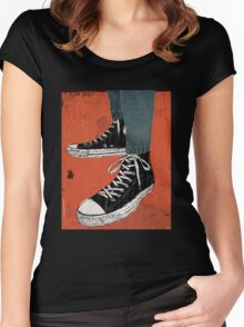 Hi-top shoes print poster art painting punk Women's Fitted Scoop T-Shirt