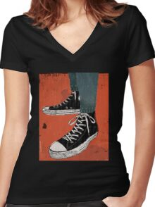 Hi-top shoes print poster art painting punk Women's Fitted V-Neck T-Shirt