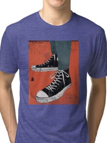 Hi-top shoes print poster art painting punk Tri-blend T-Shirt