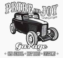 Pride and Joy Hot Rod Garage white bkg One Piece - Short Sleeve