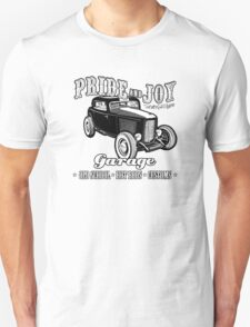 Pride and Joy Hot Rod Garage white bkg Unisex T-Shirt
