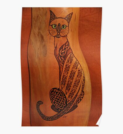 Pyrography: Celtic Cat -(please view large). Poster