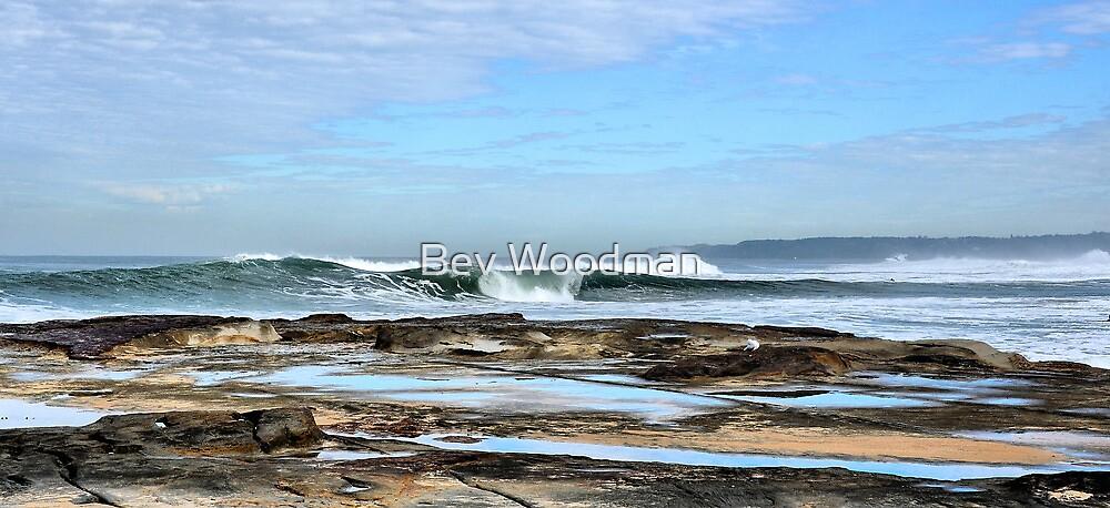 Rolling In - Newcastle Beach NSW Australia by Bev Woodman