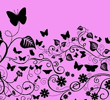 Butterflies Wings Insects Pink, Black by sitnica