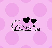 Drawn Cartoon Cat Mouse Love Hearts Black, Pink by sitnica