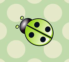 Cute Ladybug, Ladybird with Dots - Green, Black by sitnica