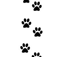Dog Paws Traces Pawprints White, Black by sitnica