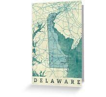 Delaware Map Blue Vintage Greeting Card