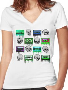 Skulls and creepy Tapes Women's Fitted V-Neck T-Shirt