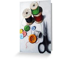 Sewing Memories 2 realistic still life Greeting Card