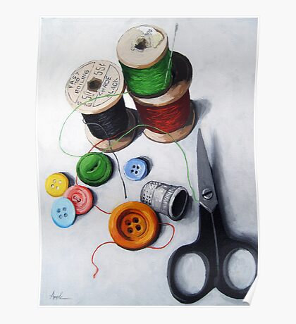 Sewing Memories 2 realistic still life Poster