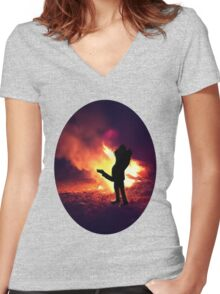 ✿♥‿♥✿ IT ONLY TAKES A SPARK TO GET A FIRE GOIN..BURNIN LOVE TEE SHIRT✿♥‿♥✿ Women's Fitted V-Neck T-Shirt