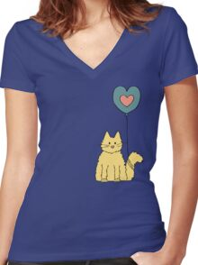 My cat loves balloons Women's Fitted V-Neck T-Shirt