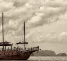 Traditional Chinese junk ship in Phang Nga Bay, Thailand Sticker
