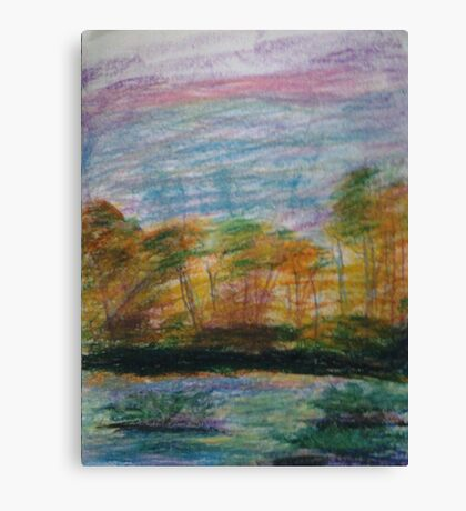Pastel Sunset on the Riverbank Canvas Print